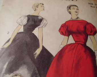 Vintage 1950's Advance 6865 Dress Sewing Pattern, Size 14, Bust 32