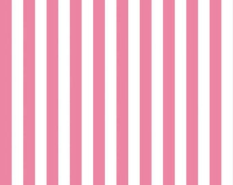 Hot Pink and White 1/2 Inch Stripe Fabric by Riley Blake