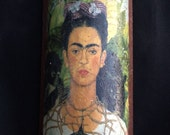 Frida Kahlo collage print terracotta roof tile, handmade in Mexico, hangs, very unique and cool