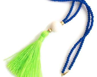 Lime Long Beaded Tassel  Necklace -Cobalt blue necklace - Neon Lime Tassel Necklace