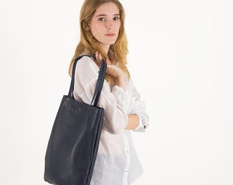 Navy Leather purse, leather tote bag