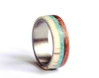 Titanium Mens Ring, Deer Antler Ring, Wood Ring with Turquoise Inlay, Men Antler Wedding Band