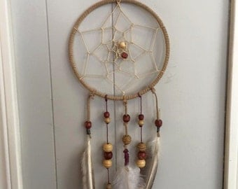 Handmade dream catcher - hand crafted - wood beads - feathers - twine - one of a kind dream catcher