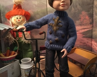 Leaf & Acorns Sweater for 18 inch BFC Doll