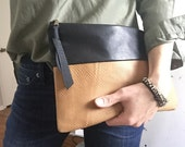 Leather clutch, black leather bag, leather purse