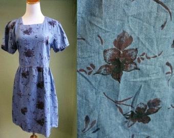 1990's Denim Babydoll Dress - 90's Grunge Floral Dress - Tieback Dress - Medium Large 90s Dress - Oversized