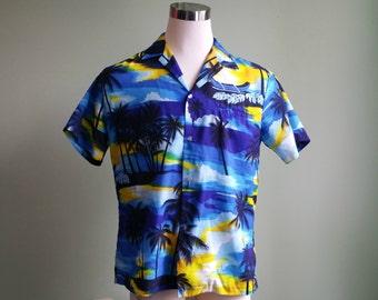 1970's Tropical Sunset Shirt - Men's Hawaiian Shirt - Large Kai Nani