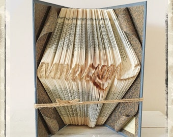 Personalized book sculpture art, book folding in script font,  folded book, book origami, home decor, personalised gift for book lover