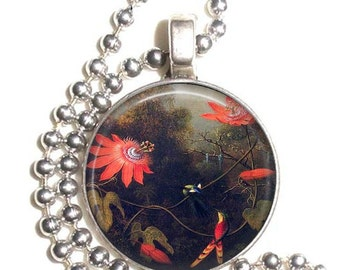 Two Hummingbirds Perched on Passion Flower Vines Art Pendant, Earrings & Key-chain, Martin Johnson Heade Art, Photo Jewelry