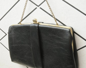 Vintage Black Purse with Gold Small Handbag