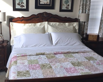 Queen Size Patchwork Quilt with Floral Prints Custom Quilt Heirloom Queen Size Bed Quilt