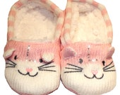 Personalised Cat Slippers Childrens - Blue Pink Rhinestone Initial Custom Slipper Socks Grippy Grip