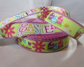 """Easter egg, cute chick, Easter basket, Easter, Easter ribbon, Easter craft supplies, Wholesale holiday ribbon, 1"""" Ribbon, RN14837"""