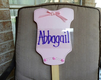 PERSONALIZED Baby Onesie Wood yard art stake sign