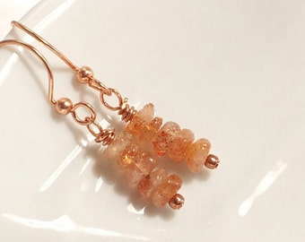 Unique Gift for Wife, Dainty Sunstone Earrings in Rose Gold, As seen on TV, Celebrity Jewelry,