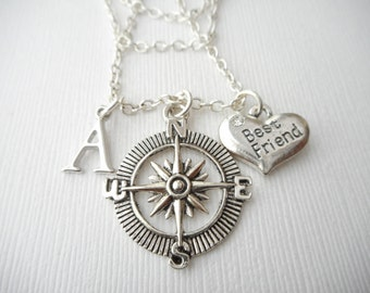 Compass, Best Friend- Initial Necklace/ Gift for best friend, Birthday Gift, Bff gift, bff jewelry, Gift for bff, Personalized Friend