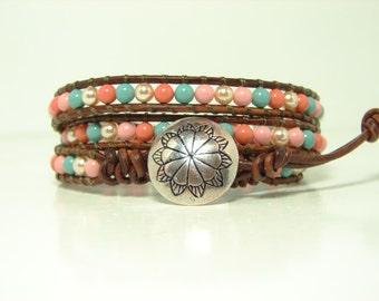 Multicolor Pearl Beaded Leather Wrap Bracelet, Triple Wrap Bracelet, Swarovski Pearl Wrap Bracelet, Western Style Wrap Bracelet