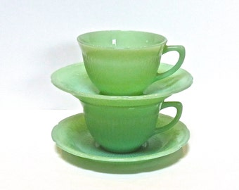 Fire King Jadite Alice Pattern Set of 2 Cups And Saucers Vintage Jadite Service for Two