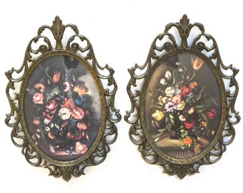 Set of 2 Ornate Brass Oval Frames, Made in Italy, Floral Prints, Rococo Style