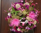 Bright Pink and Purple Spring/Summer Burlap and Mesh Wreath