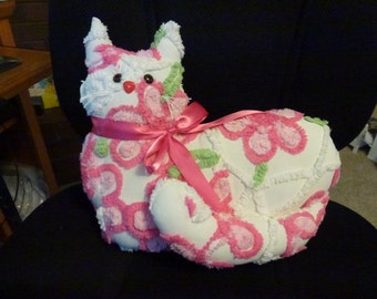 Vintage Chenille Kitty with Satin Bow,Button Eyes and Nose