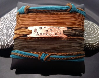 Namaste  hand stamped hand dyed silk wrap bracelet with magnetic clasp by D2E Gallery