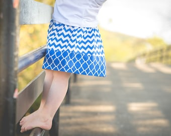 Young Girl's royal blue chevron skirt - Simple chevron and quatrefoil skirt - Handmade Modest Girls clothes - children fashion - Size 2t