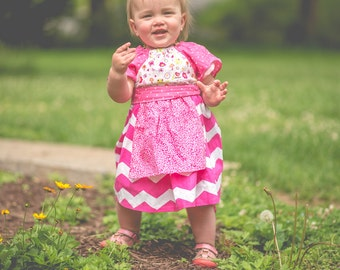 Baby Apron Dress - Toddler Girl Peasant Dress,  Pink Chevron and polka dot  Apron dress, Easter dress, Sunday dress, Size 18m.