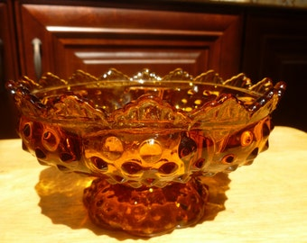 Amber Glass pedestal candle holder by Fenton 1 center 5 surround