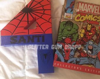 Spiderman Marvel Disney Superhero Personlized Birthday Number or Letter
