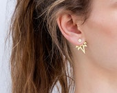 Ear jackets. Gold Flame earrings in silver or gold.
