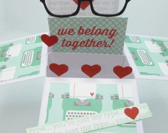Love You Box Pop Up Card, Nerdy Love, Geekery Card, You're just my type, pun card, retro typewriter