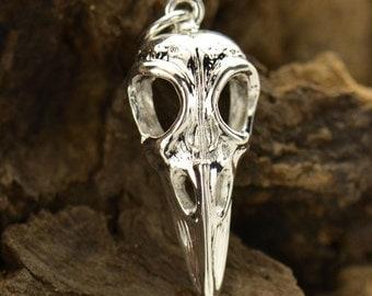 Silver Plated Bronze Bird Skull Charm