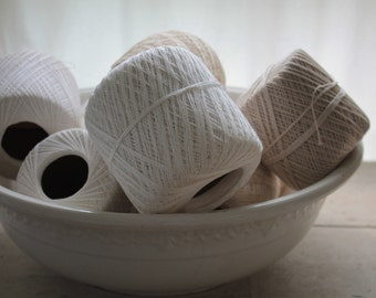 Vintage White Spools of Crochet Thread - Large Size