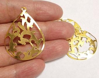 6pc 38X28mm gold finish iron drop pendant-9313G