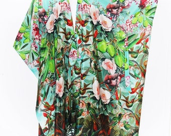 Birds, Flowers and Olives Pure Silk Midlength Crossover Wrap Dress by LaMolli Kaftans
