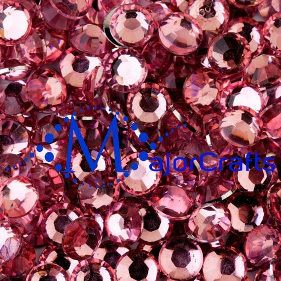 Light Pink Flat Back Round Resin Rhinestones Embellishment Gems C4