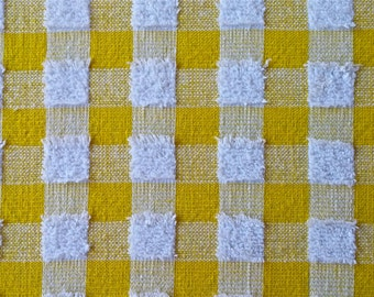 Vintage Yellow Gingham Terry Tablecloth 48 in x 64 in