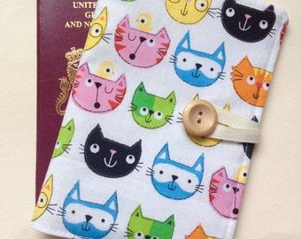 Passport cover case cute cat fabric wooden button