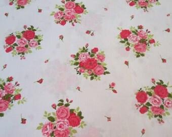 Vintage Sheet - Pink Rose Bunches - Twin or Single Flat Sheet