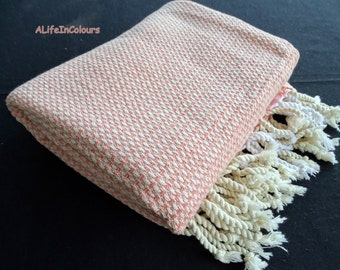 Orangish pink colour amazingly soft Turkish cotton bath towel, beach towel, yoga towel, travel towel.