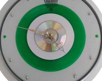 """10"""" Remo White Drum Skin & Hoop - Clock w/ green 45 record, Cd and MP3"""