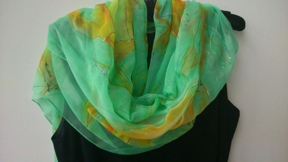 Gorgeous Mint Green Chiffon Scarf for Ladies. Etheral Hand Painted Chiffon Mint, Pastel Yellow. 18x 71 inch Long Shawl, Shoulder Wrap