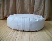 "Meditation Cushion. Zafu. Floor Pillow. Cream colored Organic Flax/LinenFabric. Buckwheat hull filled. 6"" L. Sidewall Zipper. Handmade, USA."