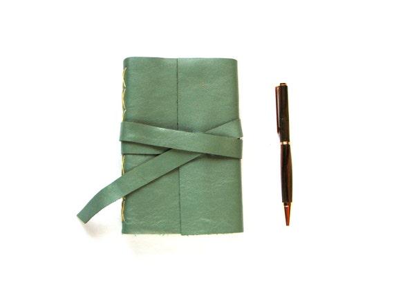 "Sea Foam Green Leather Journal or Leather Sketchbook 4"" x 6"""