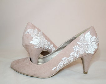 Blush Pink Floral Lace Bridal Shoes