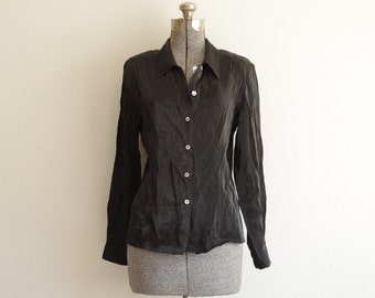 1980s Impressions of California Black Shimmery Button Down Shirt Blouse