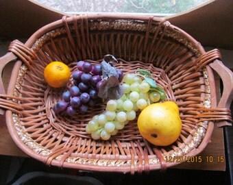 Large Vintage Woven Reed Basket Wooden Handles Fruit Centerpiece