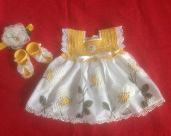 Handmade Crochet Baby Girl Dress Set - Golden Yellow & White