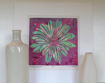 Pink and Lilac Daisy Flower Botanical Linocut Monoprint hand made print